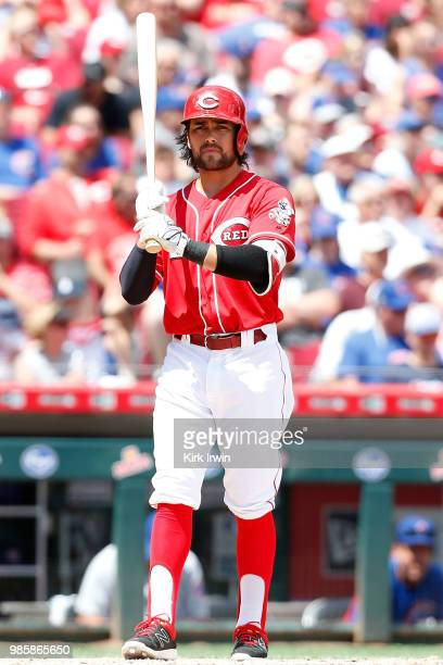 Alex Blandino of the Cincinnati Reds takes an at bat during the game against the Chicago Cubs at Great American Ball Park on June 24 2018 in...
