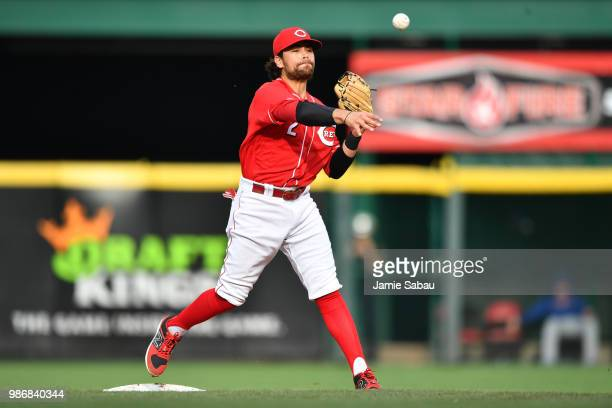 Alex Blandino of the Cincinnati Reds throws to first base against the Chicago Cubs at Great American Ball Park on June 23 2018 in Cincinnati Ohio