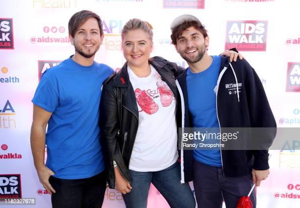 Alex Blue Davis Jaicy Elliot and Jake Borelli attend AIDS Walk Los Angeles 2019 on October 20 2019 in Los Angeles California