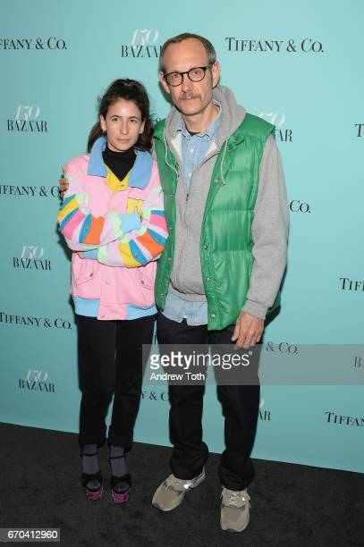 Alex Bolotow and Terry Richardson attend Harper's BAZAAR 150th Anniversary Event presented with Tiffany Co at The Rainbow Room on April 19 2017 in...