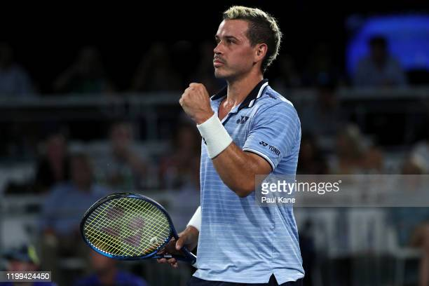 Alex Bolt of Australia celebrates winning the first set in his match against Stephane Robert of France during day three of the 2020 Adelaide...