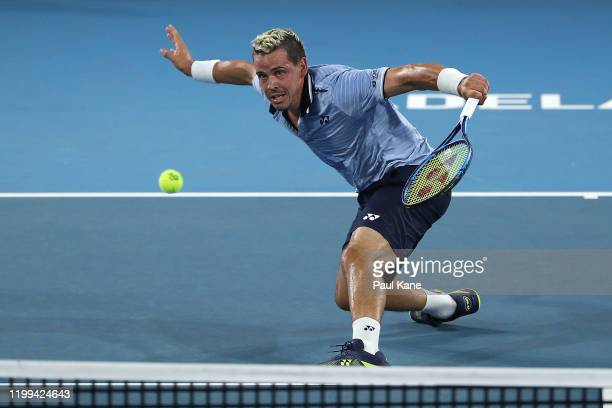 Alex Bolt of Australia in action during his singles match against Stephane Robert of France on day three of the 2020 Adelaide International at...