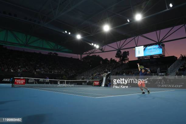 Alex Bolt of Australia serves to Felix AugerAliassime of Canada during day five of the 2020 Adelaide International at Memorial Drive on January 16...