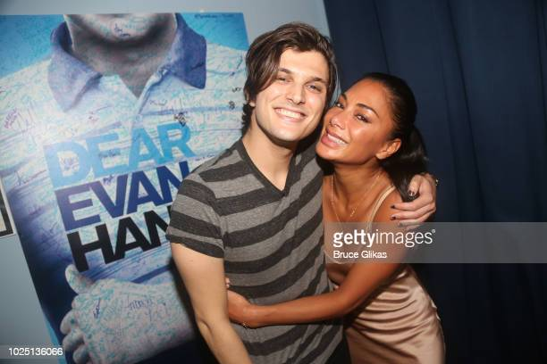 Alex Boniello and Nicole Scherzinger pose backstage at the hit musical ÒDear Evan HansenÓ on Broadway at The Music Box Theatre on August 29 2018 in...
