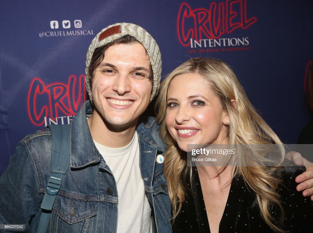 Alex Boniello and Sarah Michelle Gellar pose backstage at the new musical based on the 1999 film 'Cruel Intentions' at Le Poisson Rouge Theatre on December 16, 2017 in New York City.