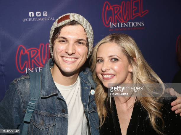 Alex Boniello and Sarah Michelle Gellar pose backstage at the new musical based on the 1999 film 'Cruel Intentions' at Le Poisson Rouge Theatre on...
