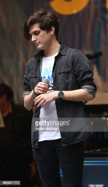 Alex Boniello performing at the United Airlines Presents #StarsInTheAlley Produced By The Broadway League on June 1 2018 in New York City