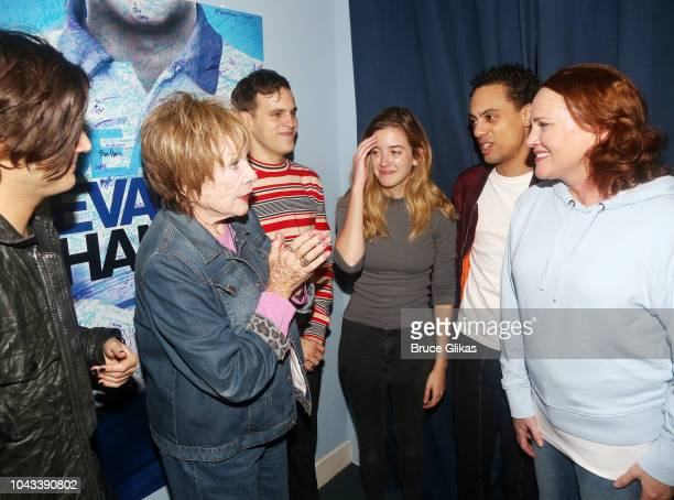 Alex Boniello Shirley MacLaine Taylor Trensch Mallory Bechtel Sky LakotaLynch and Jennifer Laura Thompson chat backstage at the hit musical Dear Evan...