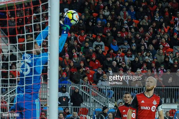 Alex Bono caught the ball during the 2018 CONCACAF Champions League Final match between Toronto FC and CD Chivas Guadalajara at BMO Field in Toronto...