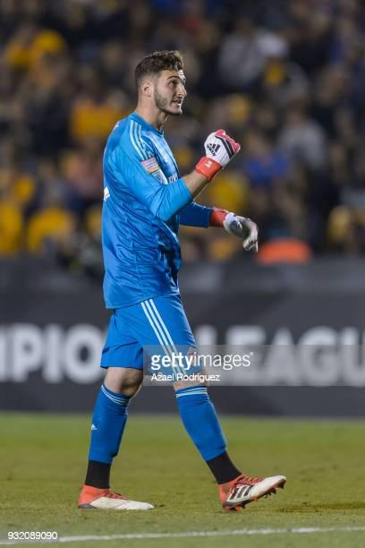 Alex Bono goalkeeper of Toronto celebrates after Rafael De Souza of Tigres scored an own goal during the quarterfinals second leg match between...