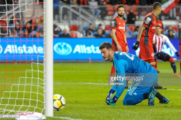Alex Bono missed the goal during the 2018 CONCACAF Champions League Final match between Toronto FC and CD Chivas Guadalajara at BMO Field in Toronto...