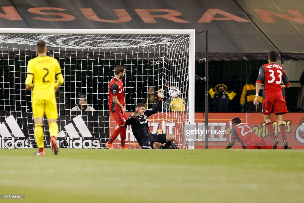 Alex Bono #25 of the Toronto FC makes a save during the second half of the match against the Columbus Crew SC at MAPFRE Stadium on November 21, 2017 in Columbus, Ohio. Columbus tied Toronto 0-0.