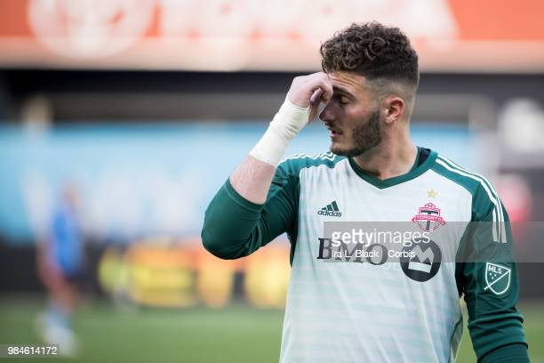 Alex Bono of Toronto FC after the MLS match between New York City FC and Toronto FC at Yankee Stadium on June 24 2018 in the Bronx borough of New...