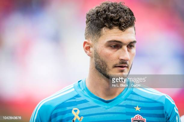 Alex Bono of Toronto FC before the Major League Soccer match between Toronto FC and New York Red Bulls at Red Bull Arena on September 22 2018 in...