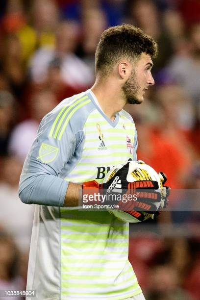 Alex Bono of Toronto FC catches the ball during the first half of the MLS regular season match between Toronto FC and LA Galaxy on September 15 at...