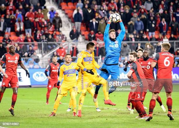 Alex Bono of Toronto FC catches the ball in the air after a corner kick during extra time of the second half of the CONCACAF Champions League...