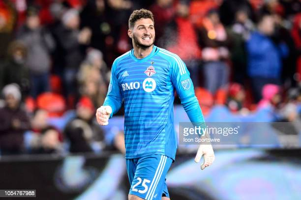 Alex Bono of Toronto FC celebrates after a Toronto FC goal during the second half of the MLS Decision Day match between Toronto FC and Atlanta United...