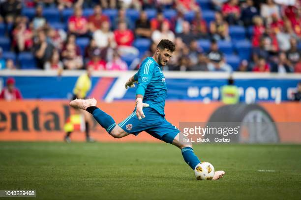 Alex Bono of Toronto FC clears the ball during the Major League Soccer match between Toronto FC and New York Red Bulls at Red Bull Arena on September...