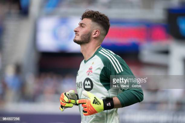 Alex Bono of Toronto FC during the MLS match between New York City FC and Toronto FC at Yankee Stadium on June 24 2018 in the Bronx borough of New...