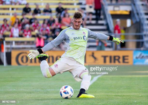Alex Bono of Toronto FC kicks the ball during the game between the Columbus Crew SC and the Toronto FC at MAPFRE Stadium in Columbus Ohio on June 02...