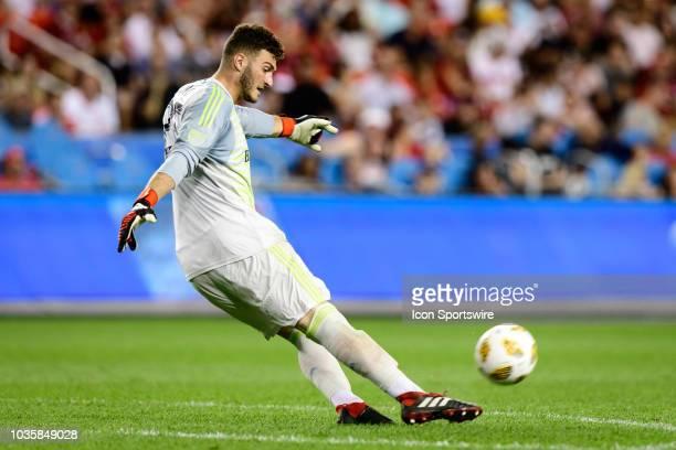 Alex Bono of Toronto FC kicks the ball during the MLS regular season match between Toronto FC and LA Galaxy on September 15 at BMO Field in Toronto...