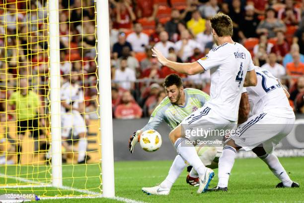 Alex Bono of Toronto FC makes a save during the MLS regular season match between Toronto FC and LA Galaxy on September 15 at BMO Field in Toronto ON...