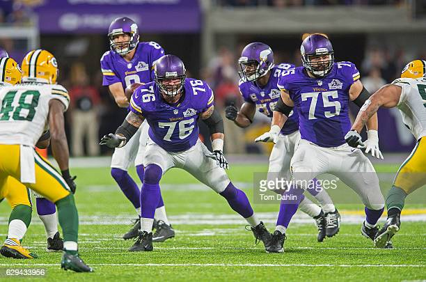 Alex Boone and Matt Kalil of the Minnesota Vikings block during an NFL game against the Green Bay Packers at US Bank Stadium September 18 2016 in...