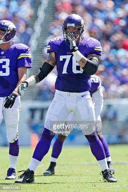 Alex Boone of the Minnesota Vikings at the line of scrimmage during a game against the Tennessee Titans at Nissan Stadium on September 11 2016 in...