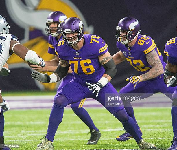 Alex Boone of the Minnesota Vikings blocks during an NFL game against the Dallas Cowboys at US Bank Stadium December 1 2016 in Minneapolis Minnesota