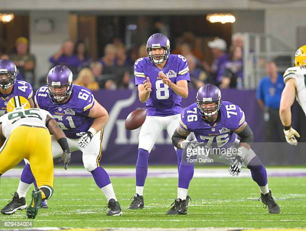 Alex Boone of the Minnesota Vikings blocks during an NFL game against the Green Bay Packers at US Bank Stadium September 18 2016 in Minneapolis...