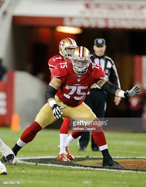 Alex Boone of the San Francisco 49ers blocks during the game against the San Diego Chargers at Levi Stadium on December 20 2014 in Santa Clara...