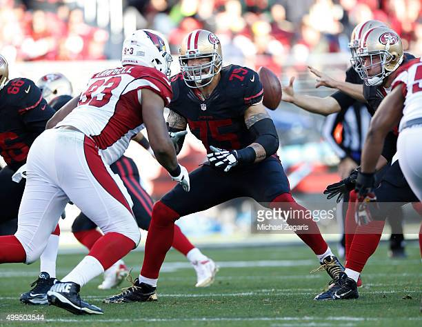 Alex Boone of the San Francisco 49ers blocks during the game against the Arizona Cardinals at Levi Stadium on November 29 2015 in Santa Clara...