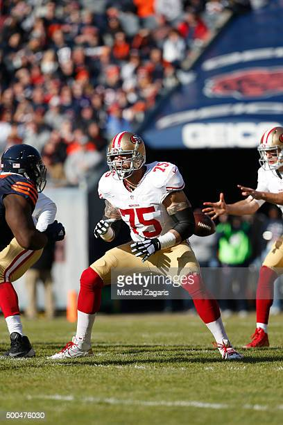 Alex Boone of the San Francisco 49ers blocks during the game against the Chicago Bears at Soldier Field on December 6 2015 in Chicago Illinois The...