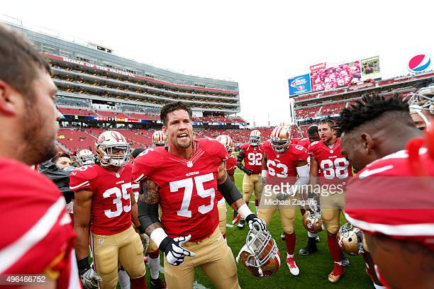 Alex Boone of the San Francisco 49ers fires the team up on the field prior to the game against the Atlanta Falcons at Levi Stadium on November 8 2015...