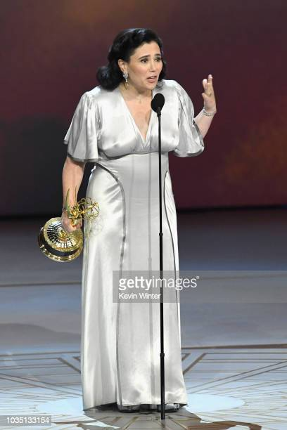 Alex Borstein accepts the Outstanding Supporting Actress in a Comedy Series award for 'The Marvelous Mrs Maisel' onstage during the 70th Emmy Awards...