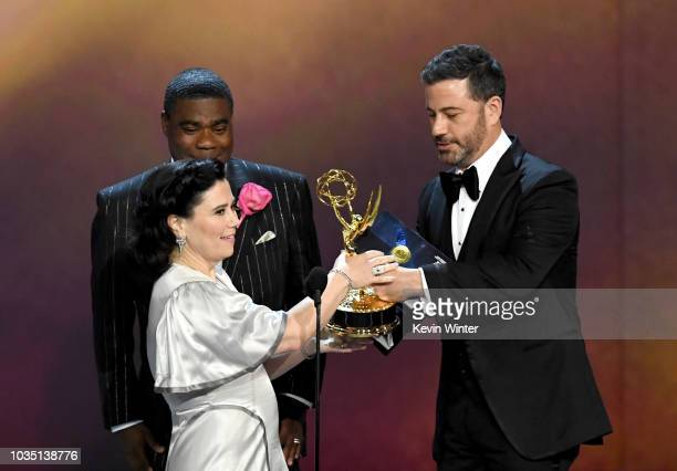 Alex Borstein accepts the Outstanding Supporting Actress in a Comedy Series award for 'The Marvelous Mrs Maisel' from Tracy Morgan and Jimmy Kimmel...