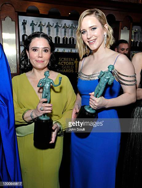 Alex Borstein and Rachel Brosnahan Winners of Outstanding Performance by an Ensemble in a Comedy Series for 'The Marvelous Mrs Maisel' pose with...