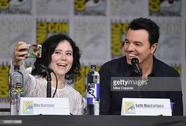 Alex Borstein and Seth MacFarlane onstage at the American Dad and Family Guy Panel during ComicCon International 2018 at San Diego Convention Center...