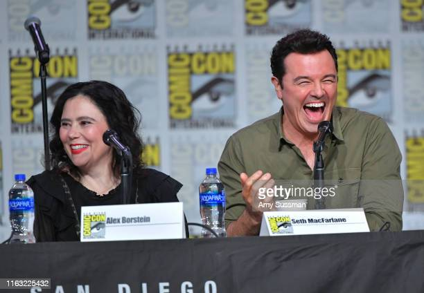 Alex Borstein and Seth MacFarlane speak at the Family Guy Panel during 2019 ComicCon International at San Diego Convention Center on July 20 2019 in...