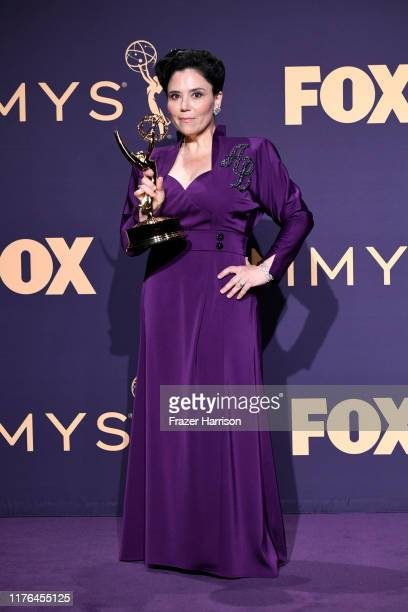Alex Borstein poses with award for Outstanding Supporting Actress in a Comedy Series in the press room during the 71st Emmy Awards at Microsoft...