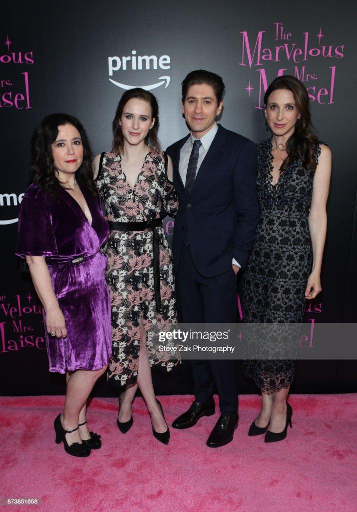 Alex Borstein, Rachel Brosnahan, Michael Zegen and Marin Hinkle attend 'The Marvelous Mrs. Maisel' New York Premiere at Village East Cinema on November 13, 2017 in New York City.