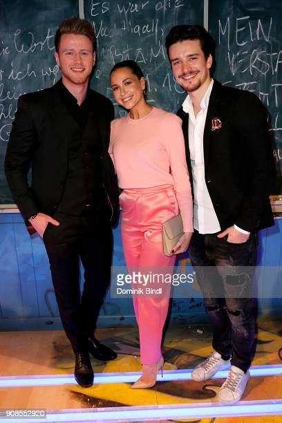 Alex Bosch Mandy Grace Capristo and Sven Gold attend the 'Fack ju Goehte Se Mjusicael' Musical Premiere at Werk 7 Theater on January 21 2018 in...