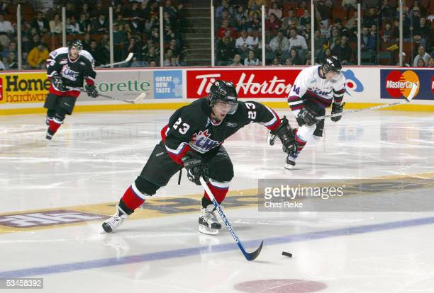 Alex Bourret of Team Cherry skates against Team Davidson during the Top Prospects game at the Pacific Coloseum on January 19, 2005 in Vancouver,...