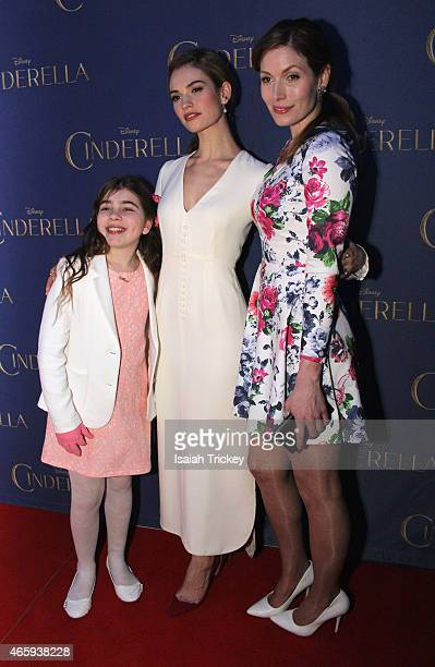 Alex Bousada Lily James and Lauren Hammersley attend the Toronto Special screening of Disney's 'Cinderella' held at Scotiabank Theatre on March 11...