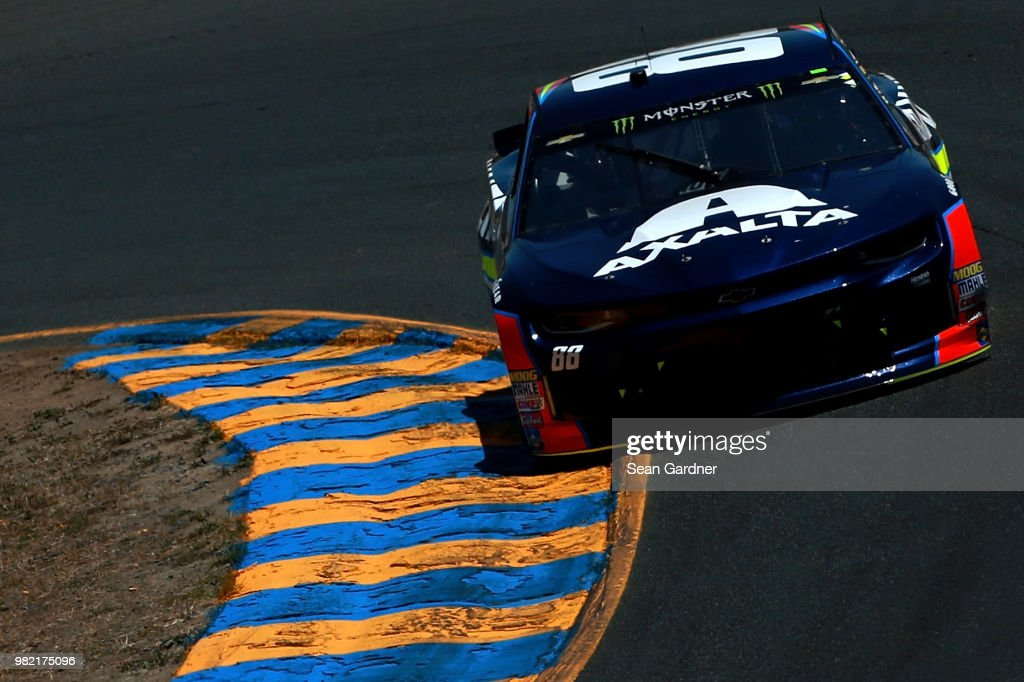 Alex Bowman, driver of the #88 Axalta Chevrolet, drives during qualifying for the Monster Energy NASCAR Cup Series Toyota/Save Mart 350 at Sonoma Raceway on June 23, 2018 in Sonoma, California.