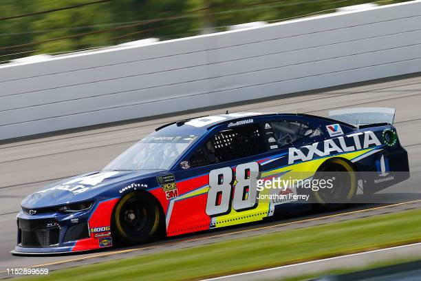 Alex Bowman driver of the Axalta Chevrolet practices for the Monster Energy NASCAR Cup Series Pocono 400 at Pocono Raceway on May 31 2019 in Long...