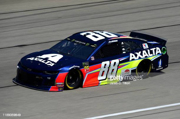 Alex Bowman driver of the Axalta Chevrolet practices for the Monster Energy NASCAR Cup Series Camping World 400 at Chicagoland Speedway on June 29...