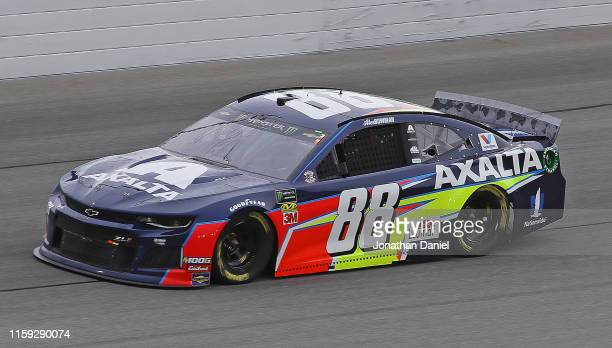 Alex Bowman driver of the Axalta Chevrolet races during the Monster Energy NASCAR Cup Series Camping World 400 at Chicagoland Speedway on June 30...