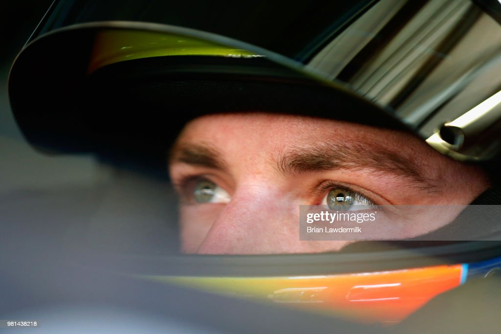 Alex Bowman, driver of the #88 Axalta Chevrolet, sits in his car during practice for the Monster Energy NASCAR Cup Series Toyota/Save Mart 350 at Sonoma Raceway on June 22, 2018 in Sonoma, California.