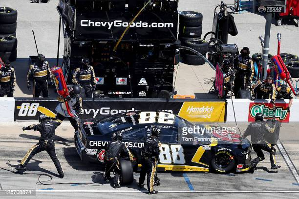 Alex Bowman driver of the ChevyGoodscom/Adam's Polishes Chevrolet pits during the NASCAR Cup Series O'Reilly Auto Parts 500 at Texas Motor Speedway...